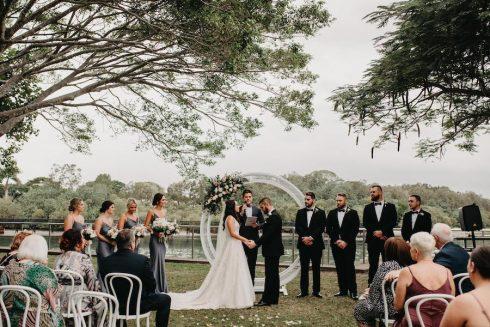 Bride and Groom garden wedding ceremony