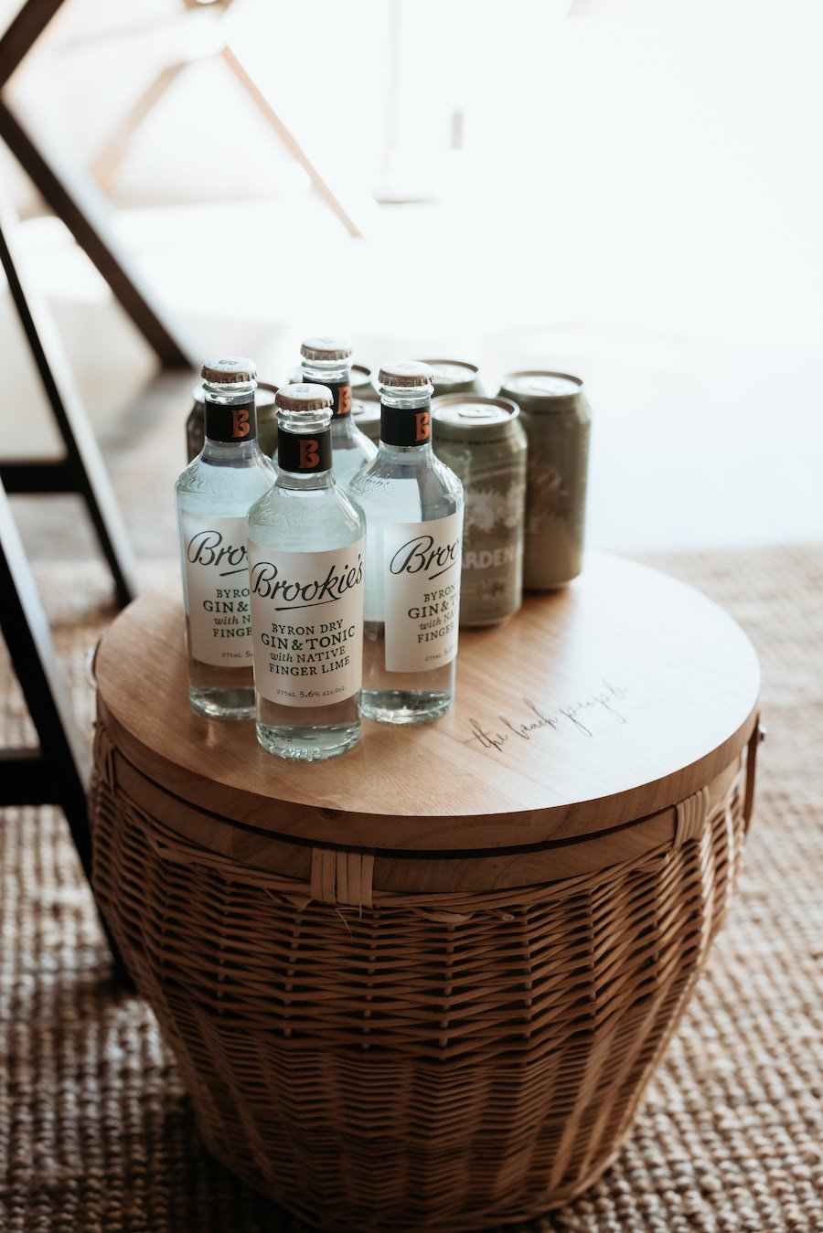 The Beach People picnic hamper with brookies gin and stone and wood