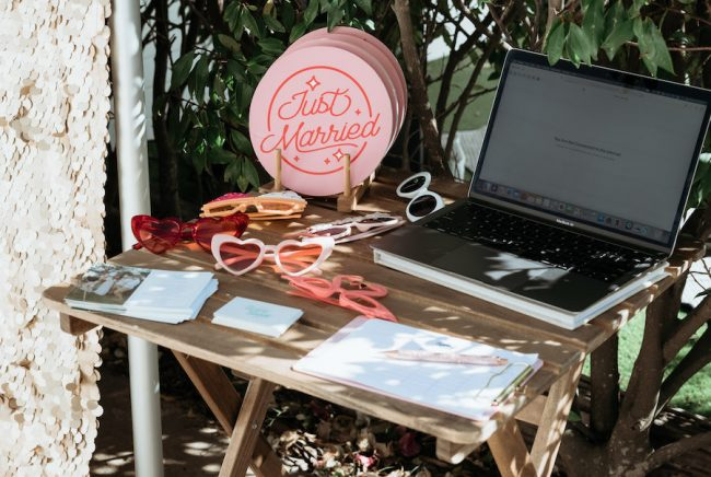 photo props in the Osteria garden