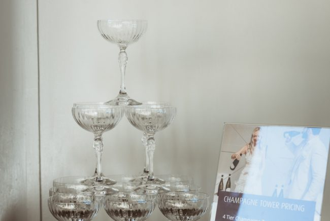 A champagne tower display at the winter open day 2021