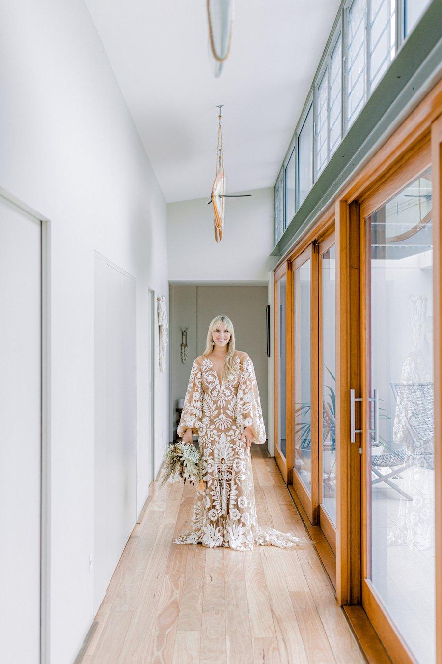bride in long coorridor