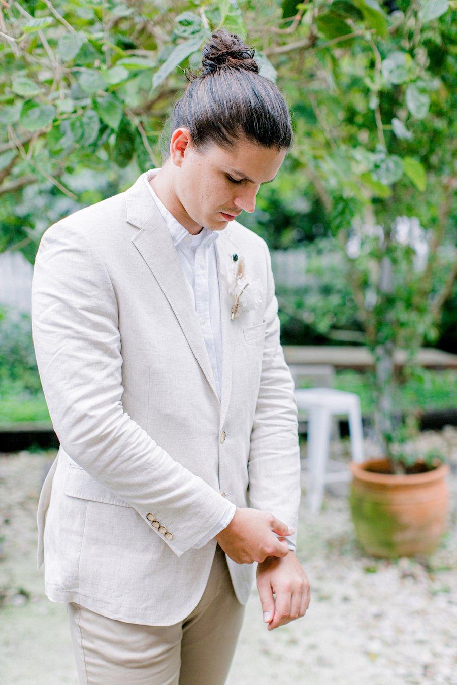 groom in the garden