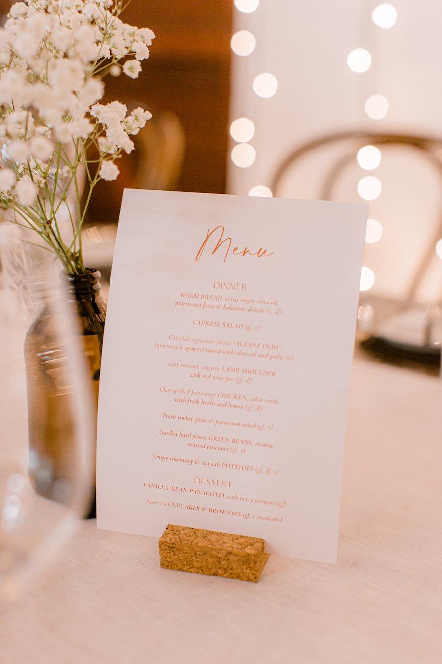 wedding menu on table